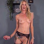 Slender Blonde In Garter Stockings