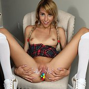 Petite Latina Schoolgirl Plays With Her Holes