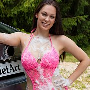 Soapy Wet Brunette Babe Marion In Pink Swimsuit