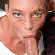 Pecker Sucking Chick With A Freckled Face