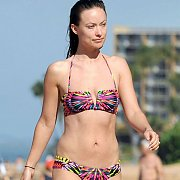 Colorful Bikini On Celeb Walking The Beach