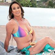 Mature Bikini Woman Raelynn Raines By The Pool
