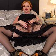 Stockings Redhead With Tats Flashing