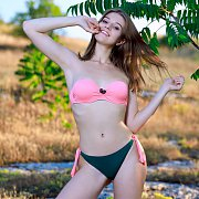 Erotic Girl Libby Strips Off Her Bikini Outdoors
