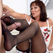 Prowling Cougar In Stockings Gets Cock