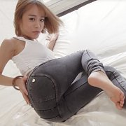 Petite Japanese Lady Strips Off Tight Jeans