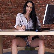 Naughty Secretary Flashing Panties