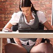 Brunette Secretary Panty Flashing Clip