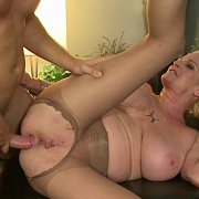 Mature Woman Ass Fucked In Ripped Off Nylons