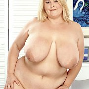 Large Blonde Lady Stripping Naked
