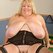 Very Large Woman On Pool Table