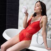 Arousing Petite Strips Off Red Teddy