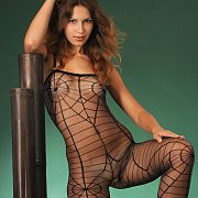 Sexy Black Body Stocking On A Dark Haired Model