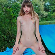 Slim Nude Beghe With Puffy Nipples On Her Knees Outside