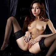Open Legs Young Model In Stockings