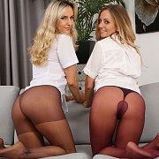 Two Babe Strip Riding Gear Down To Their Pantyhose