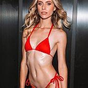 Slim Blue Eyes Babe Anya Olsen In A Red Bikini