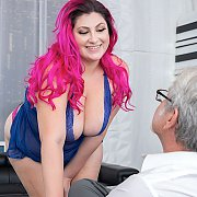 Alexis Abuse Strips And Strokes For An Old Man