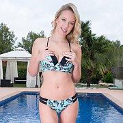 Busty Bikini Babe Fingers Poolside