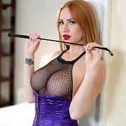 Fishnet Bodystocking Redhead Babe Teases Pussy