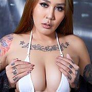 Tattooed Asian Flashing In White Bikini