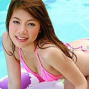 Asian Bikini Gal Strips At The Pool