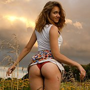 Delightful European Girl Showing Her Knickers