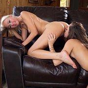 Lesbians On Leather Sofa