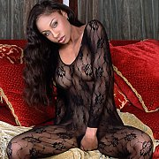Sexy Black Beauty Wearing Body Stocking Lingerie