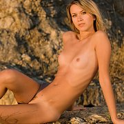 Skinny Model With Tan Lines Naked Outside