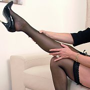 Blonde Mum In Stockings And Heels