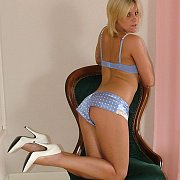 Blonde Lady Teasing In Her High Heels