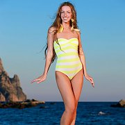 Striped One Piece Swimwear Beauty By The Water