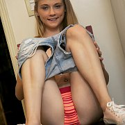 Darling Blonde Teenie Petite Showing Tiny Tits