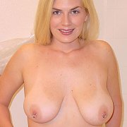 Blonde Mom Shows Her Pierced Nipples And Tanlined Boobs