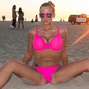 Hot Pink Bikini Busty Blonde At The Beach And At Home