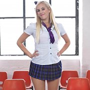Blonde School Fantasy Striptease