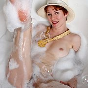 Short Red Hair Pasty Milf In A Bubble Bath