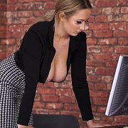 Hot Office Girl Showing Great Cleavage