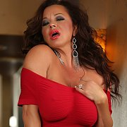 Rachel Aziani In A Red Dress