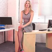 Office Chick In Fishnets Stipping