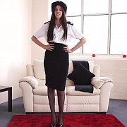 Stripping Out Of Police Uniform And Pantyhose
