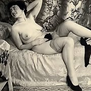 Lady Posing For Vintage Photo In Stockings