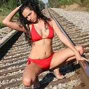 Bikini Girl On Some Railroad Tracks