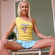 Pretty Blonde Teen Teasing In Tiny Skirt