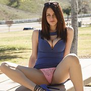 Heeled Brunette Flashing Panties At The Park