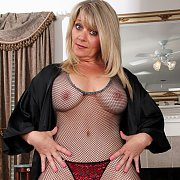 See Thru Fishnet Lingerie On Older Blonde