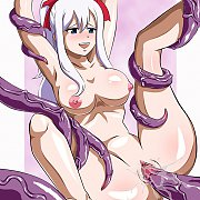 Winged Female Flying By Rundown Mansion