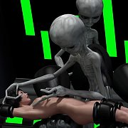 Grey Alien Playing With Her Tits