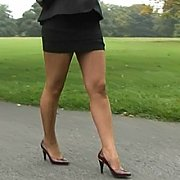 Teasing Nylons Lady At The Park